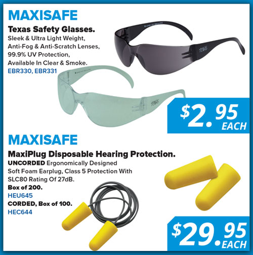 Natbuild April special Maxisafe glasses and hearing protection
