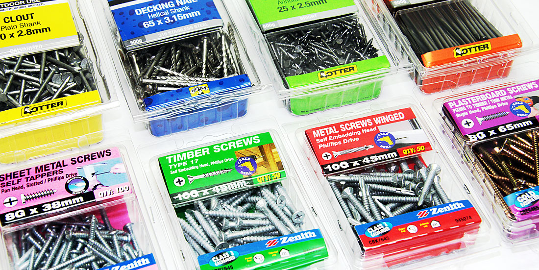 pack shot of screws, bolts and nails